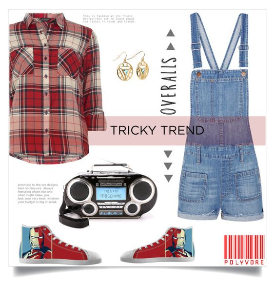 """""""Tricky Trend Overralls"""" by linkfari ❤ liked on Polyvore featuring Dorothy Perkins, Madewell, Renben, Moschino, TrickyTrend and overalls"""