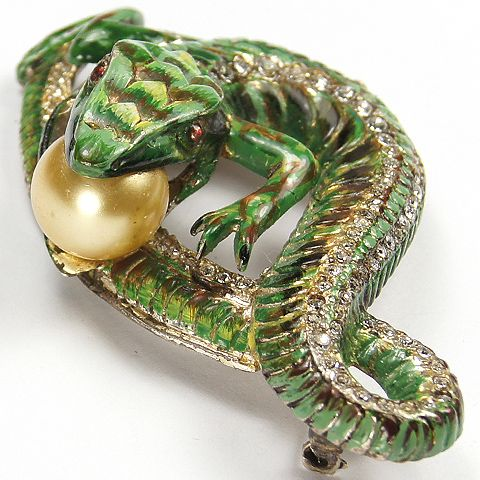 Corocraft Sterling 'Jewels of Fantasy' Pave and Enamel Lizard Eating a Pearl Egg Pin 1942  $  2250