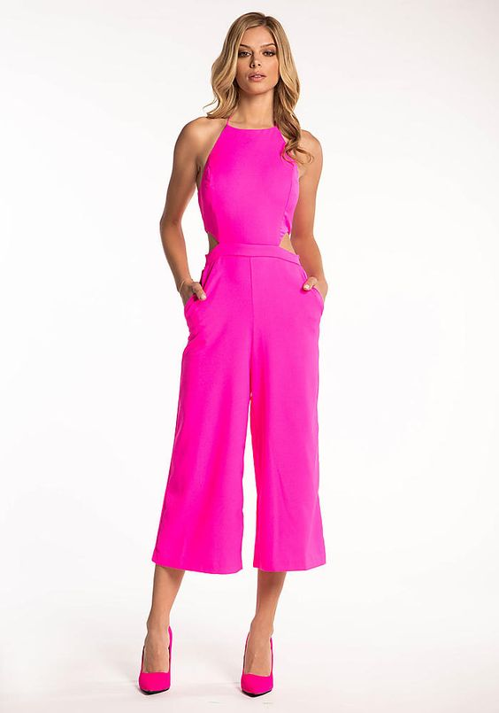 Hot Pink Cut Out Wide Legged Jumpsuit - Jumpsuits & Rompers ...