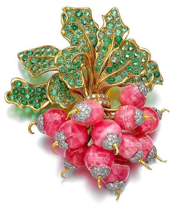 Botte de Radis (Bunch of Radishes) brooch set with rhodochrosite, peridot, and diamonds - René Boivin, 1985.: