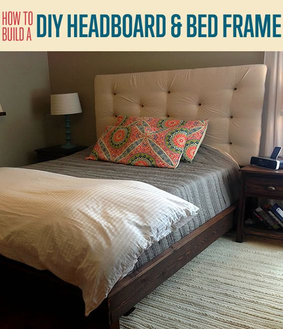 Platform bed frame diy upholstered headboard and easy diy for Cheap easy to make headboards