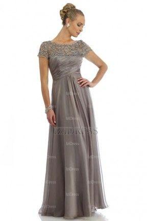 A-Line/Princess Jewel Floor-length Chiffon Mother of the Bride ...