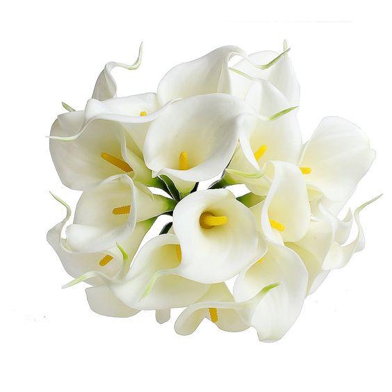 Amazon.com - 20pcs Calla Lily Bridal Wedding Bouquet head Latex Real Touch Flower Bouquets KC51 White - Artificial Flowers