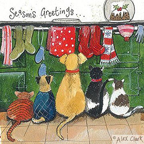 Alex Clark Charity Christmas Cards Cats & Dogs by the Aga
