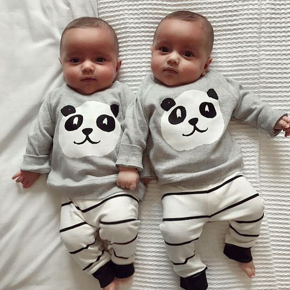 Baby Boys Girls Cartoon Panda Print Long Sleeve Top + Stripes Long Pants