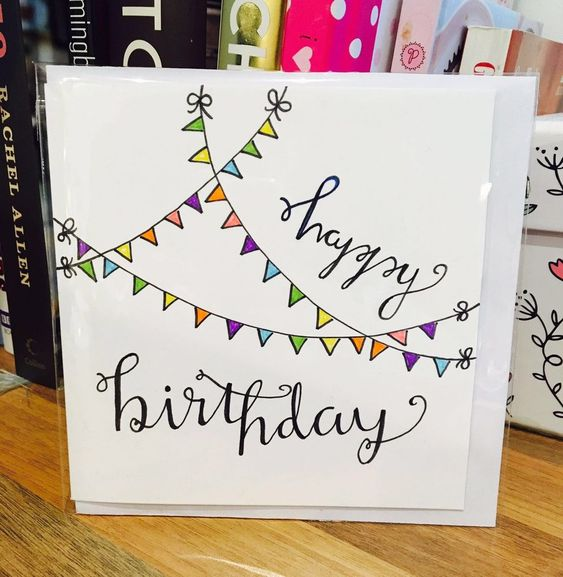 Happy Birthday Card Flag Cute White Design Handmade Drawn Pen – Birthday Card Drawing Ideas