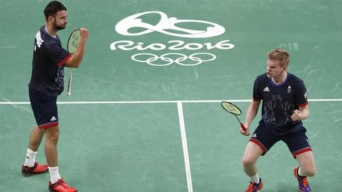 Marcus Ellis and Chris Langridge win bronze in the badminton mixed doubles. 18th August 2016