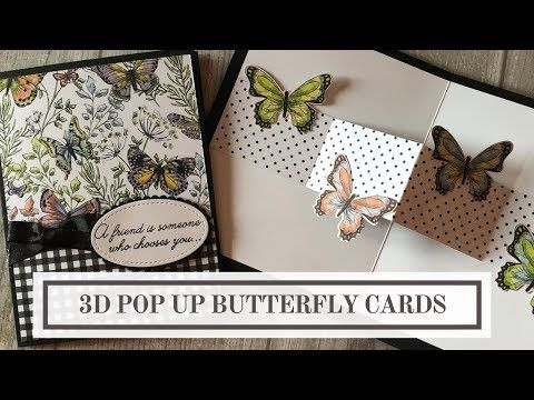 In This Tutorial You Will Learn How To Make A Simple 3d Pop Butterfly Card You Will Also Learn How To Step It Up And Cre Butterfly Cards Fun Fold Cards