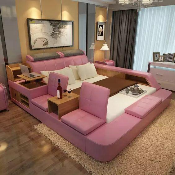 寝室の家具セット現代革クイーンサイズ収納ベッドサイド収納キャビネット椅子スツールnoマットレスb00q