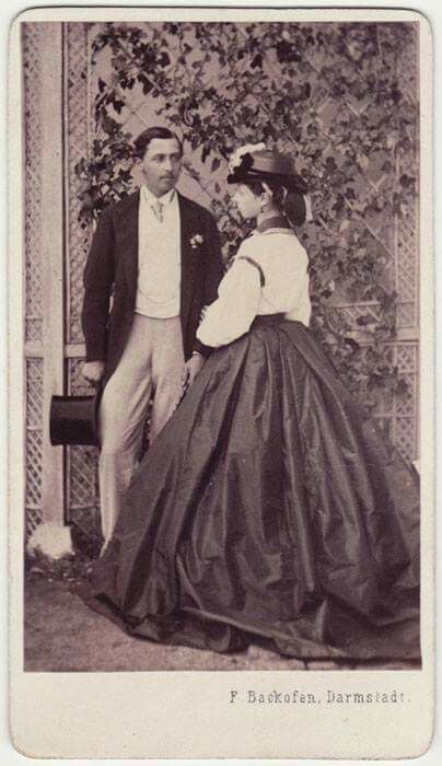 A young Prince Alfred of Great Britain (later Duke of Edinburgh) with his newly wed sister Alice Princess of Great Britain, Princess Louis of Hesse and by the Rhine.