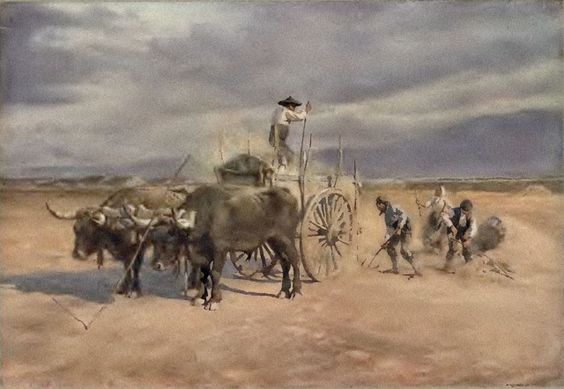 Workers in the field. Provincia de Segovia. Acuarelas de España de Arthur. C. Michael