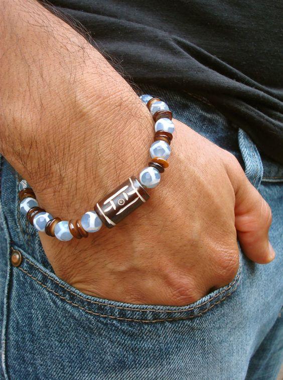 Herren geistlichen tibetische Armband mit Frieden und Gleichgewicht geschnitzt Knochen Symbol, Semi kostbaren tibetischen Achaten, Shell - Liebe Mann Armband