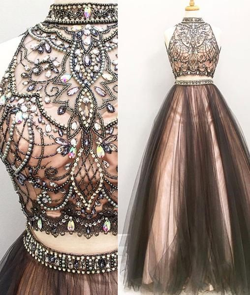 Black hight neck two pieces tulle long prom dress 2017 for teens, black evening dress, modest prom dress long, prom picture: