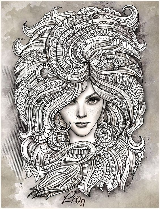 "Zodiac illustration ""LEO"" on Behance --> If you're in the market for the top adult coloring books and supplies including drawing markers, colored pencils, gel pens and watercolors, visit our website at http://ColoringToolkit.com. Color... Relax... Chill.:"