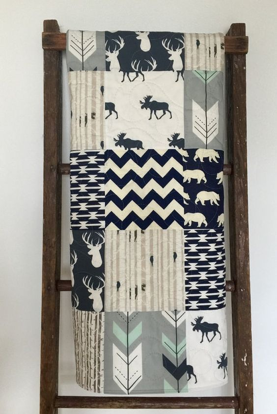Adorable - baby boy - modern - moose - rustic - woodland - stag - bow and arrow - navy - mint - gray - blanket - baby crib or nursery quilt. This