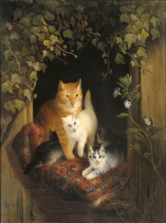 ..Ronner-Knip, Henriette (1821 - 1909) Cat and kittens