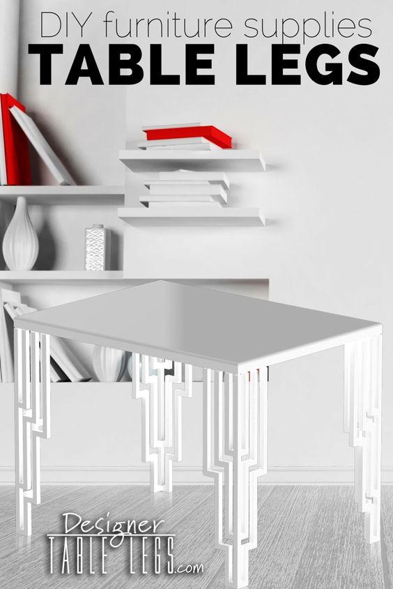 White Art Deco Table Legs   Metal Table Legs   DIY Furniture Ikea Hacks |  Empire Deco White Finished | Pinterest