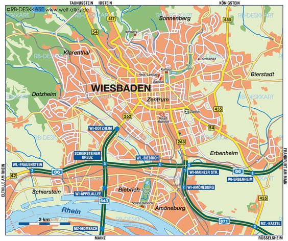 Wiesbaden Germany – Map of West Germany with Cities