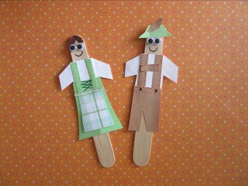 Dirndl And Lederhosen Craft Made Of Craft Sticks And Paper