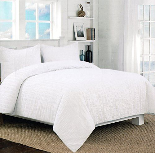 Nicole Miller Home 3pc King Seersucker Duvet Cover And