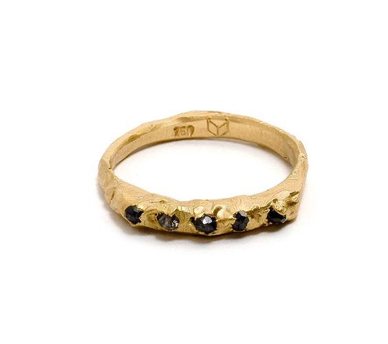 Norse ring - 18ct yellow gold & black diamonds by Tessa Blazey