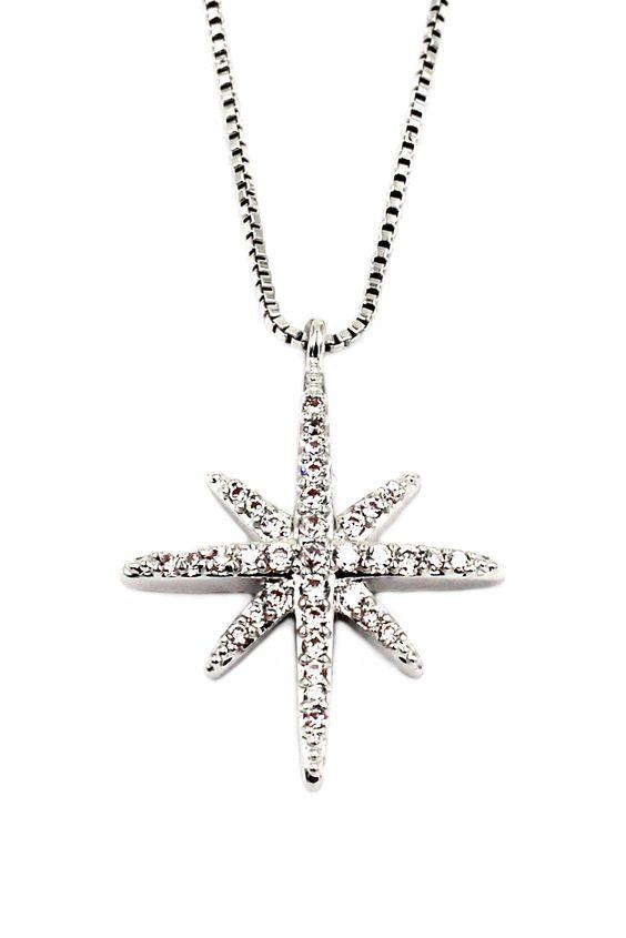 fashion polaris small crystal silver necklace
