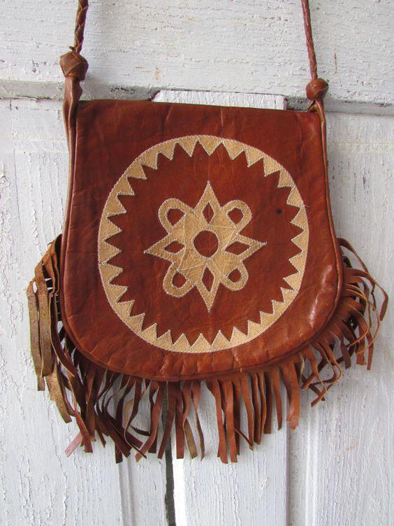 Vintage genuine leather fringed hippie by YimmekesVintageFinds