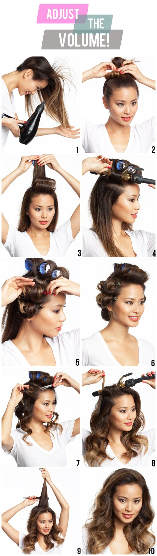 Tools: volumizer (talk to your hairstylist + ask what they recommend for your hair type!), blow dryer, rubber band, medium velcro rollers, 1″ curling iron, setting clips or big bobby pins, teasing comb or teasing brush, light to medium hold hairspray.    1: Add a non-sticky volumizer to your root. Blow dry hair upside down.    2: Put all of your hair up in a quick bun (doesn't matter what it looks like). This is the time to do your makeup because it will give the hair time to cool whi...