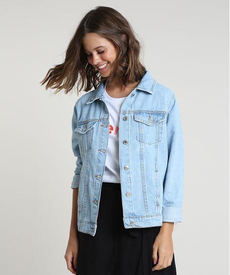 Jaqueta Jeans Feminina com Bolsos Azul Claro - cea