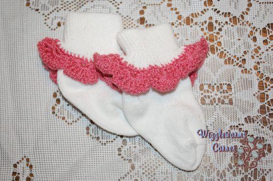 Crocheted Trim Socks 0-6 months Rose pink by Wigglewormscorner