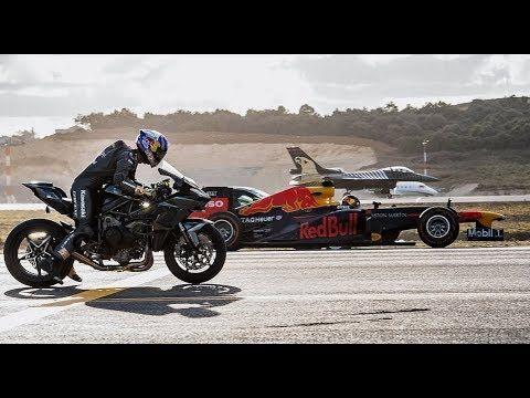 Kawasaki Ninja H2r Vs F1 Car Vs F16 Fighter Jet Vs Super Cars Vs