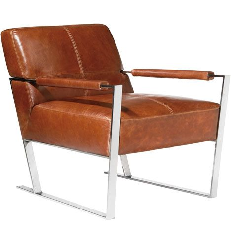 Pike Armchair Top-Grain Leather and Chrome from Rejuvenation ...