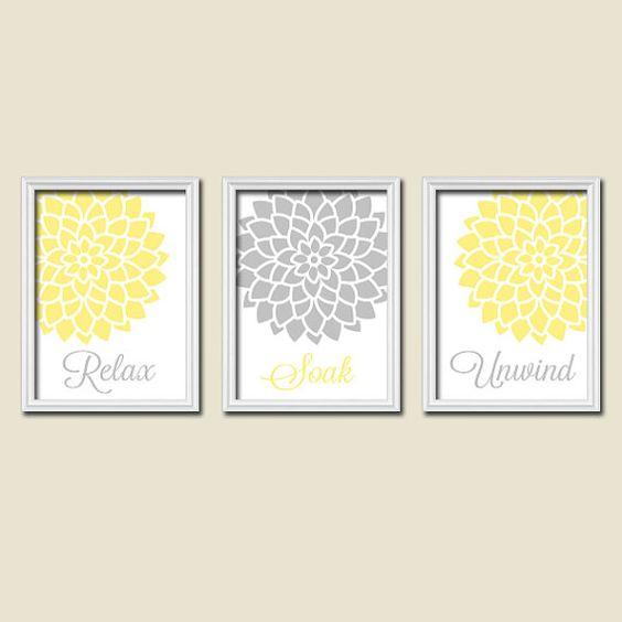 yellow turquoise bathroom wall art canvas or prints bathroom decor relax soak unwind flower. Black Bedroom Furniture Sets. Home Design Ideas