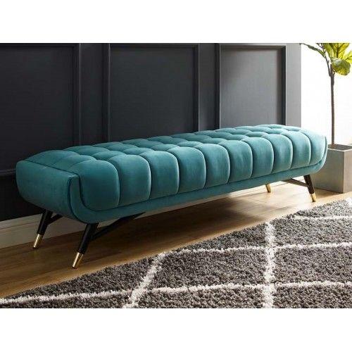 Mid Century Deep Tufted Sea Blue Velvet Extra Long Bench Living Room Sofa Design White Furniture Living Room Sofa Design