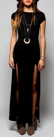 this dress really depicts my style. Revealing , but not too revealing. It's hard to find a black dress that is not too scandalous so this dress shows just the right amount of leg to create a mysterious vibe