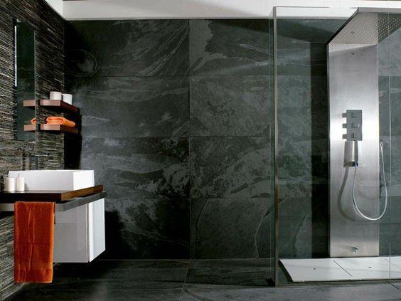 salle de bain ardoise naturelle et chic - Salle De Bain Ardoise Et Pierre