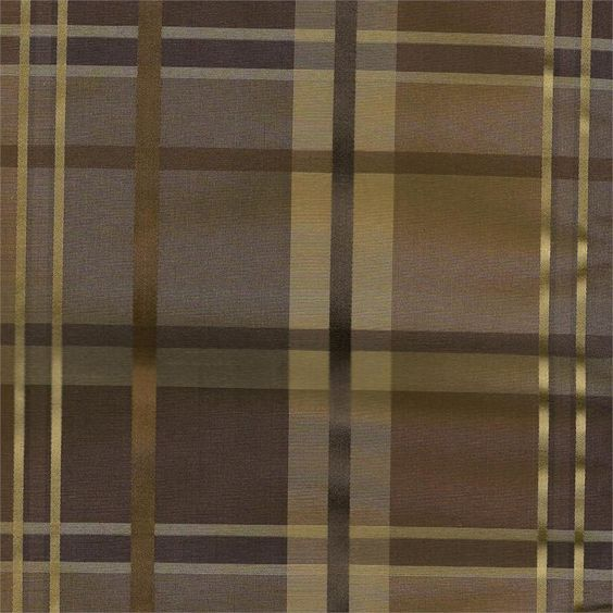 Cologne Plaid faux silk fabric in cocoa chocolate brown color ...