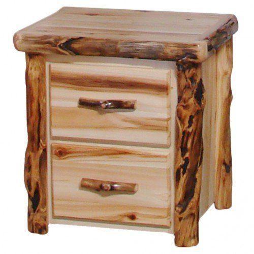 Beartooth Aspen 2 Drawer Log Nightstand Cabin Furniture Modern Rustic Furniture Rustic Wood Furniture