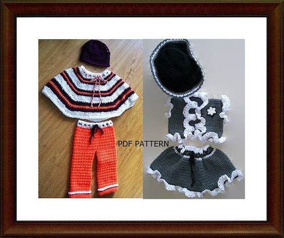 Two very cute patterns for little girls. The first pattern is for the poncho set, comes with instructions for hat, poncho and pants. Sizes of pattern are 2- 4 years.  The cowgirl set is for a toddler size 12months - 2 years. Instructions included are for the hat, skirt and vest. Both patterns are easy to read and follow and make up very quickly. Makes the perfect little gifts for any little fashion diva.