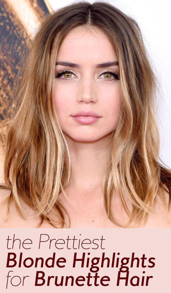 The Best Celebrity Blonde Highlights For Brunettes Brunette With Blonde Highlights Blonde Hair Pale Skin Hazel Eyes Hair Color