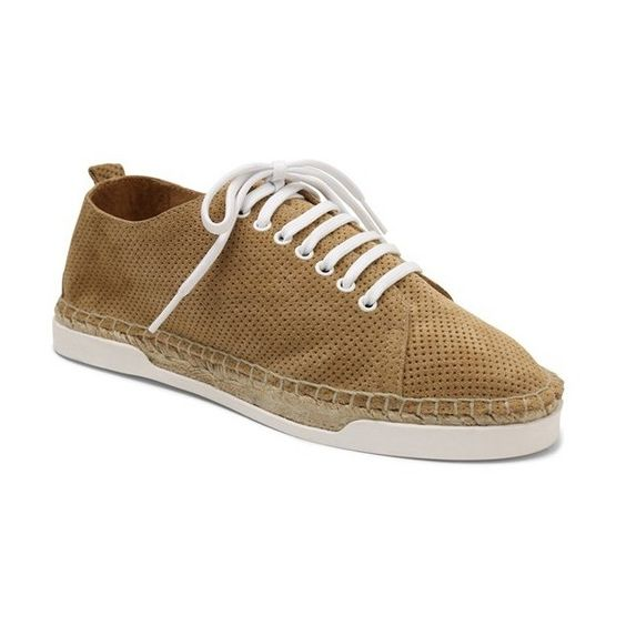 Women's Andre Assous Shawn Espadrille Perforated Sneaker ($170) ❤ liked on Polyvore featuring shoes, sneakers, camel suede, espadrilles shoes, espadrille sneakers, andre assous shoes, perforated shoes and woven sneakers