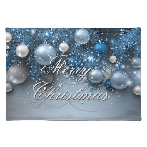 Christmas Holiday Ornaments Blues Placemat Zazzle Com Christmas Placemats Christmas Holidays Holiday Ornaments