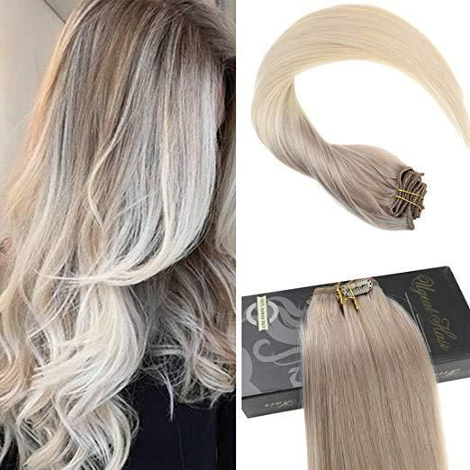 Ugeat Hot 8a 9pcs Ombre Clip In Hair Extensions Ash Blonde To