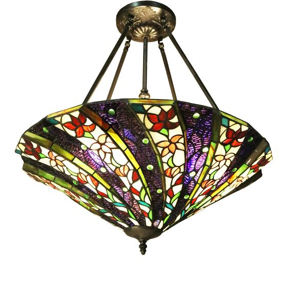 Meacham 3-light Multicolor 24-inch Tiffany-style Ceiling Lamp