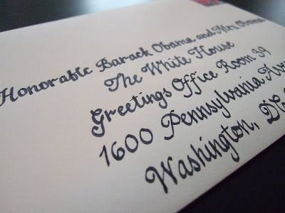 To invite the President, mail your invitation at least six weeks in advance of your wedding day to:  The Honorable Barack Obama and Mrs. Obama  The White House  Greetings Office Room 39  1600 Pennsylvania Avenue  Washington, DC 20500