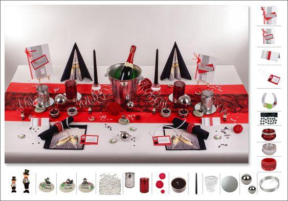 Tischdeko Silvester 5 in Schwarz/Rot als Mustertisch - Tafeldeko.de