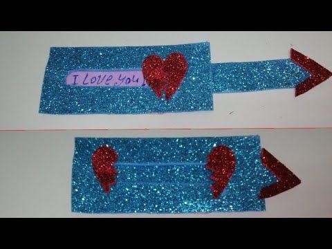 هدايا الفلانتين كارت المفاجأت هدية حلوة وبسيطة لعيد الحب Diy Heart Slider Card Youtube Slider Cards Quick Crafts Crafts