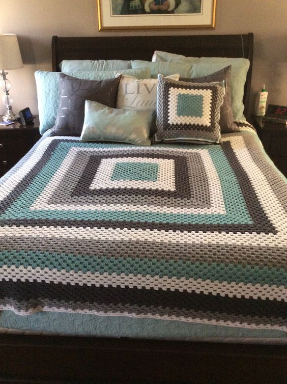 Crochet giant granny square blanket and cushion, teal grey and white by AL: