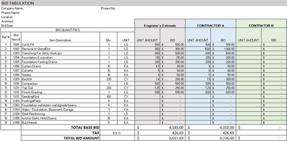 Free Construction Project Management Templates in Excel computer - Bid Sheet Template Free