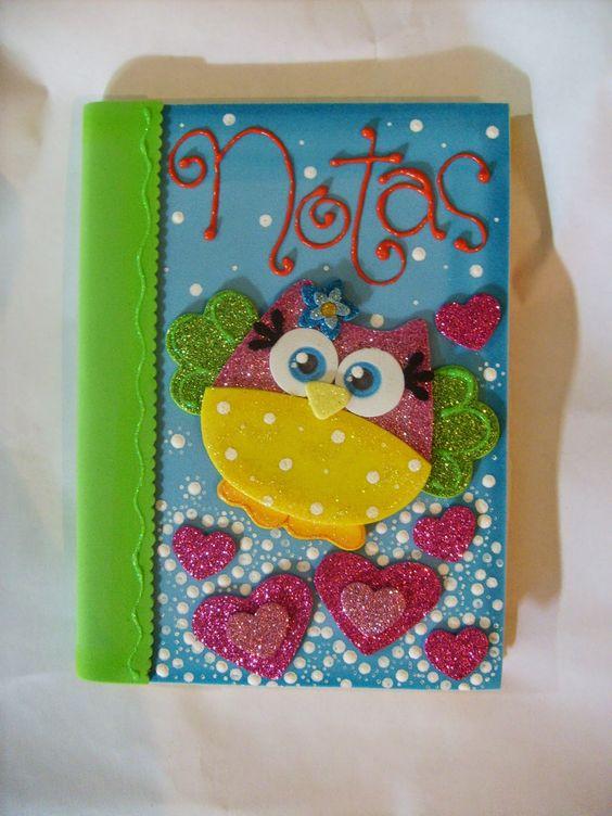 Cuaderno de Búho forrado con foami | pasta para cuadernos ...